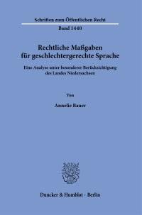 Cover Rechtliche Maßgaben für geschlechtergerechte Sprache