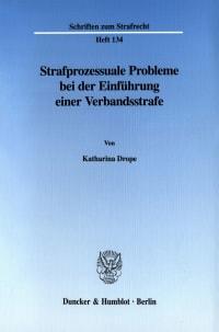 Cover Strafprozessuale Probleme bei der Einführung einer Verbandsstrafe