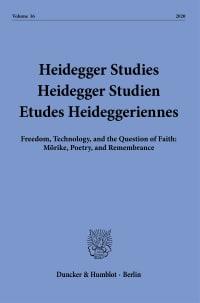 Cover Heidegger Studies / Heidegger Studien / Etudes Heideggeriennes (HEIST)