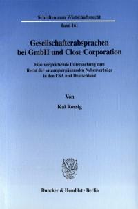 Cover Gesellschafterabsprachen bei GmbH und Close Corporation
