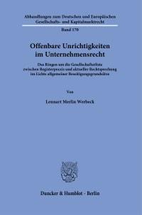 Cover Offenbare Unrichtigkeiten im Unternehmensrecht