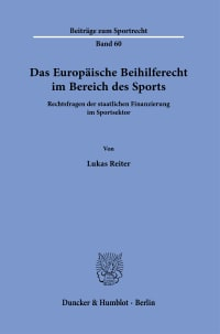 Cover Das Europäische Beihilferecht im Bereich des Sports