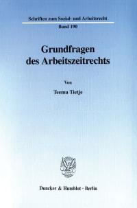 Cover Grundfragen des Arbeitszeitrechts