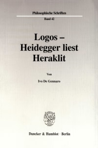 Cover Logos - Heidegger liest Heraklit