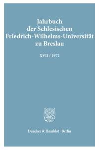 Cover Jahrbuch der Schlesischen Friedrich-Wilhelms-Universität zu Breslau