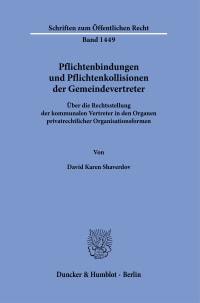 Cover Pflichtenbindungen und Pflichtenkollisionen der Gemeindevertreter