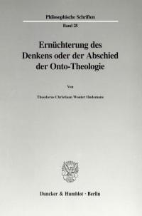 Cover Ernüchterung des Denkens oder der Abschied der Onto-Theologie