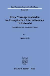 Cover Reine Vermögensschäden im Europäischen Internationalen Deliktsrecht