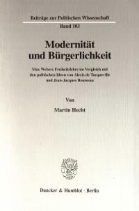 Cover Modernität und Bürgerlichkeit
