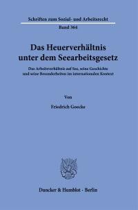 Cover Das Heuerverhältnis unter dem Seearbeitsgesetz