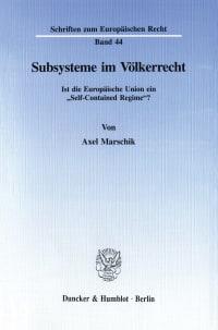 Cover Subsysteme im Völkerrecht
