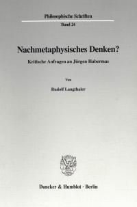 Cover Nachmetaphysisches Denken?