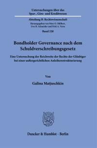 Cover Bondholder Governance nach dem Schuldverschreibungsgesetz