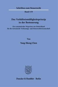 Cover Das Verhältnismäßigkeitsprinzip in der Besteuerung