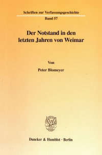 Cover Der Notstand in den letzten Jahren von Weimar