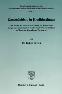 Cover Kontrollabbau in Kreditinstituten