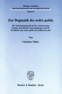 Cover Zur Dogmatik des ordre public