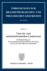 Cover Vom ein- zum mehrkonfessionellen Landesstaat