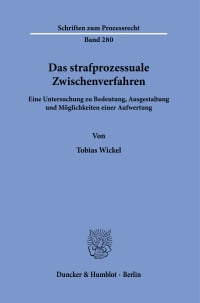 Cover Das strafprozessuale Zwischenverfahren