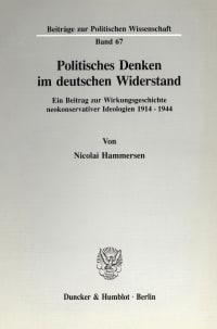 Cover Politisches Denken im deutschen Widerstand