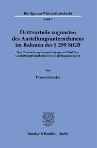 Cover Drittvorteile zugunsten des Anstellungsunternehmens im Rahmen des § 299 StGB