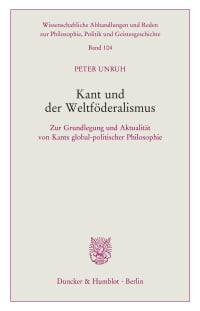 Cover Kant und der Weltföderalismus