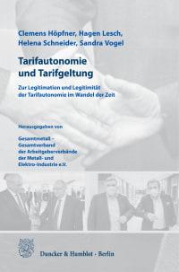 Cover Tarifautonomie und Tarifgeltung