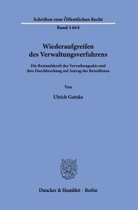 Cover Wiederaufgreifen des Verwaltungsverfahrens