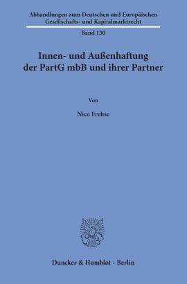 Cover Innen- und Außenhaftung der PartG mbB und ihrer Partner