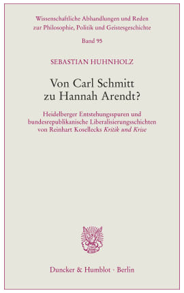 Cover Von Carl Schmitt zu Hannah Arendt?