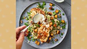 Rezept für Kräuter-Reis-Salat mit Blumenkohlsteaks