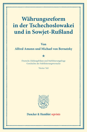 Cover Währungsreform in der Tschechoslowakei und in Sowjet-Rußland