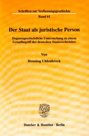 Cover Der Staat als juristische Person