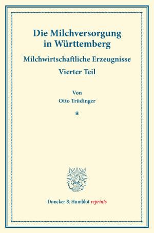 Cover Die Milchversorgung in Württemberg