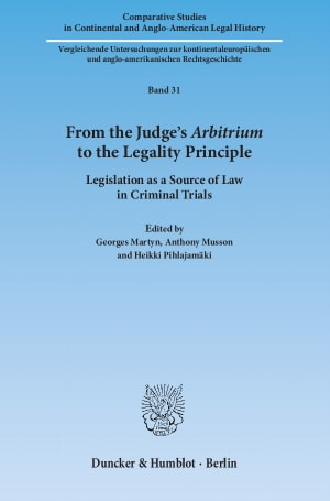 Cover From the Judge's Arbitrium to the Legality Principle