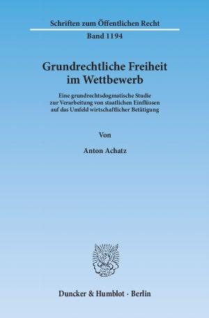 Cover Grundrechtliche Freiheit im Wettbewerb