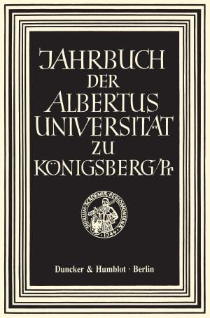 Cover Jahrbuch der Albertus Universität zu Königsberg/Pr. (JBK)