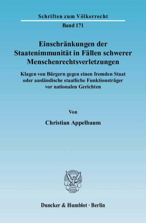 Cover Einschränkungen der Staatenimmunität in Fällen schwerer Menschenrechtsverletzungen