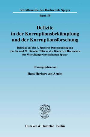 Cover Defizite in der Korruptionsbekämpfung und der Korruptionsforschung