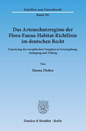 Cover Das Artenschutzregime der Flora-Fauna-Habitat-Richtlinie im deutschen Recht