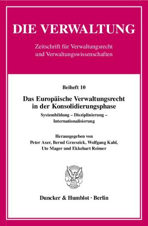 Cover Das Europäische Verwaltungsrecht in der Konsolidierungsphase