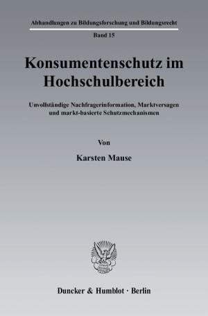 Cover Konsumentenschutz im Hochschulbereich