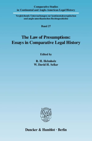 Cover The Law of Presumptions: Essays in Comparative Legal History