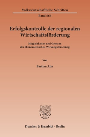 Cover Erfolgskontrolle der regionalen Wirtschaftsförderung