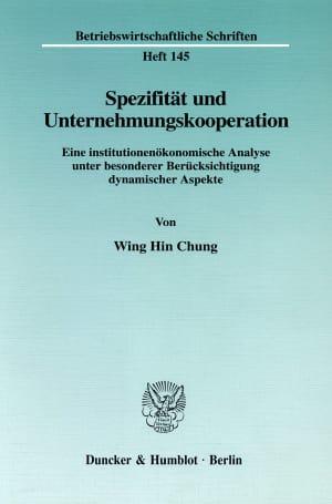 Cover Spezifität und Unternehmungskooperation