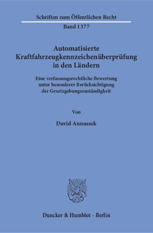 Cover Automatisierte Kraftfahrzeugkennzeichenüberprüfung in den Ländern