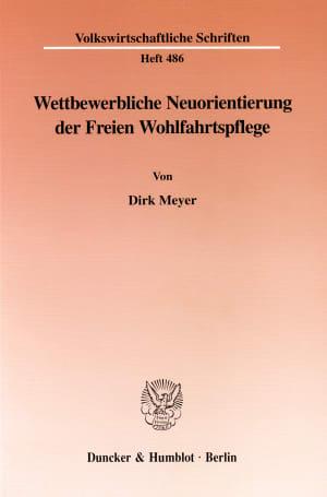 Cover Wettbewerbliche Neuorientierung der Freien Wohlfahrtspflege