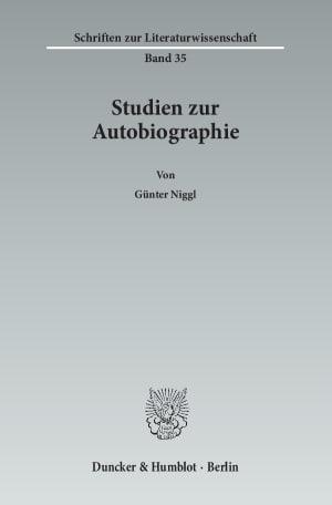 Cover Studien zur Autobiographie