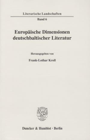 Cover Europäische Dimensionen deutschbaltischer Literatur