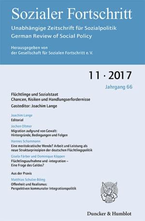 Cover Flüchtlinge und Sozialstaat. Chancen, Risiken und Handlungserfordernisse (SF 11/2017 )